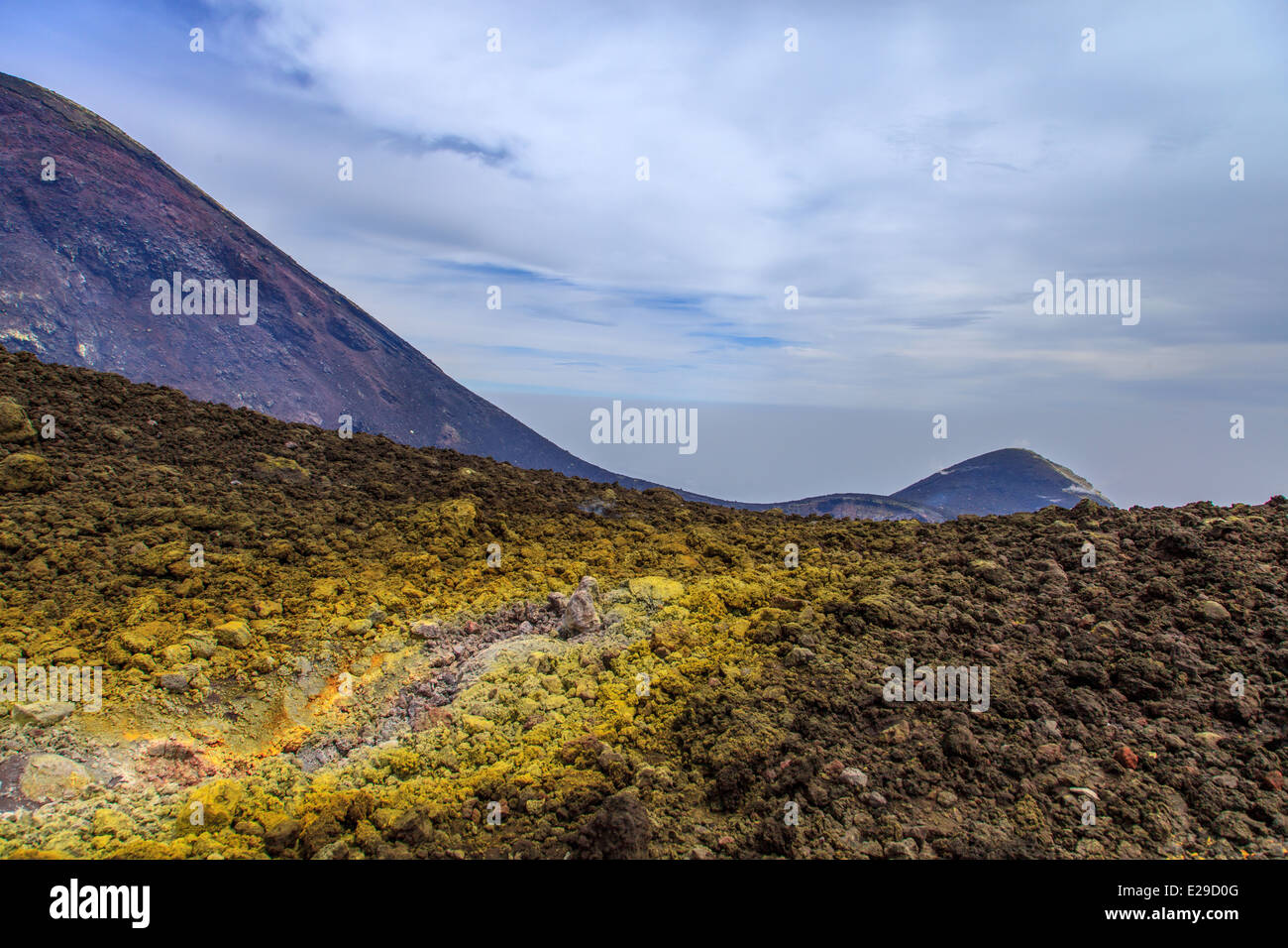 Sulfur formation ever the summit mouth of Mount Etna - Stock Image