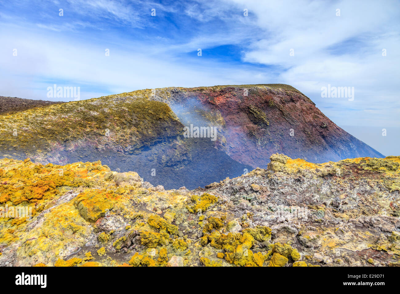 Sulfur formation around the summit mouth of Mount Etna - Stock Image