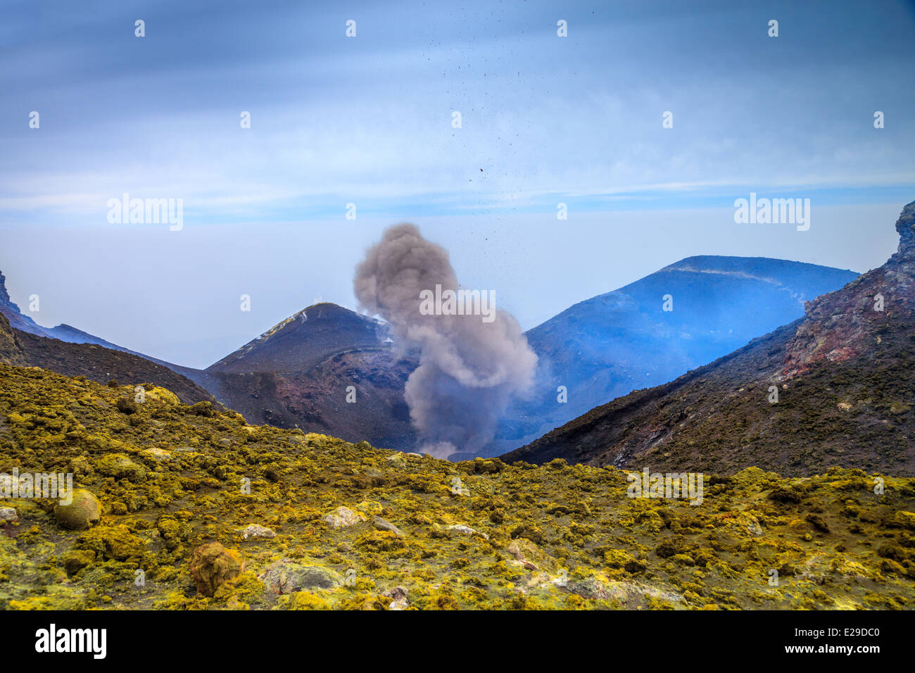 Explosion in summit mouth of mount Etna - Stock Image