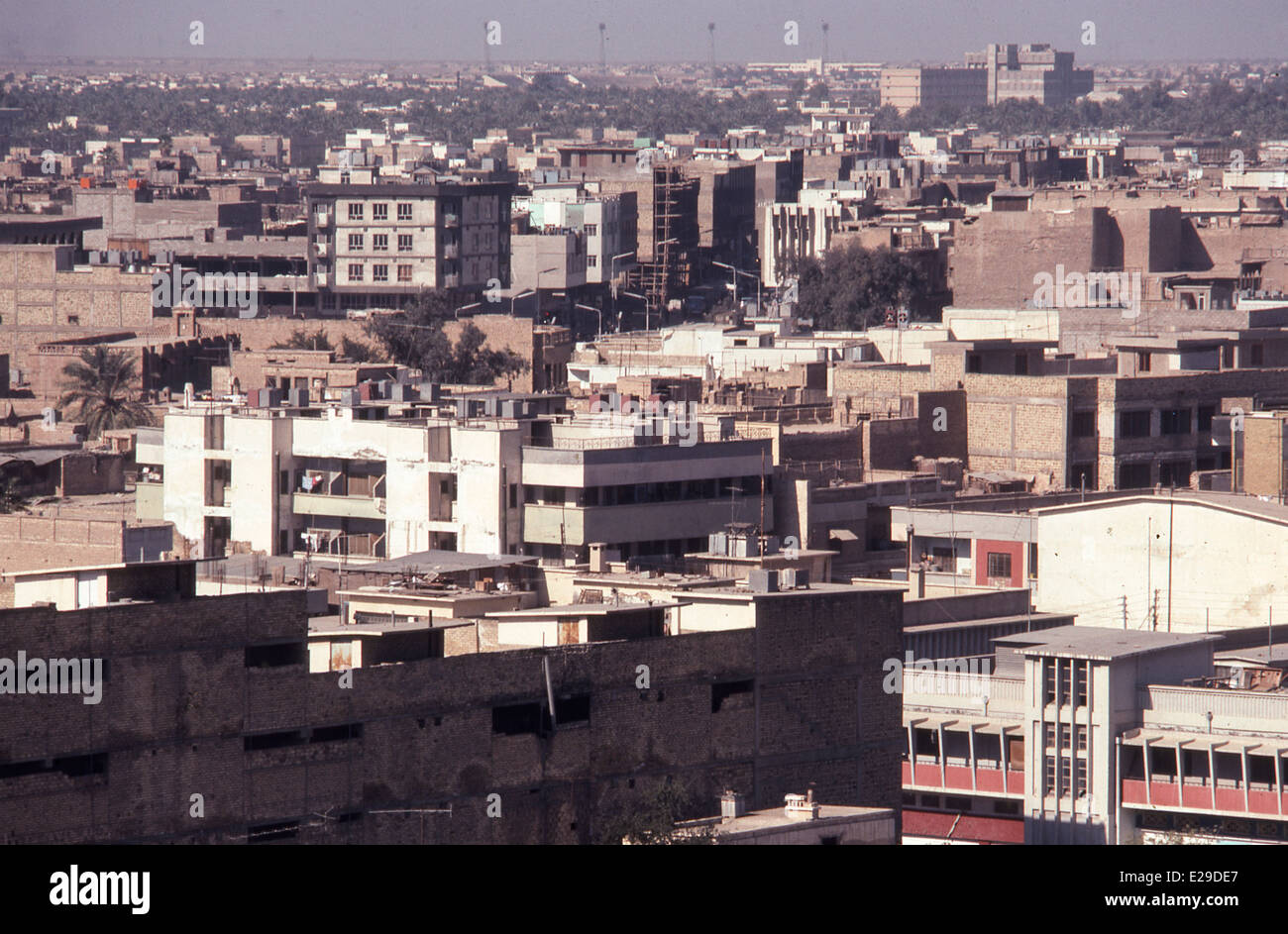 Modern housing blocks apartments in suburb of Baghdad in early 1980s Iraq Middle East - Stock Image