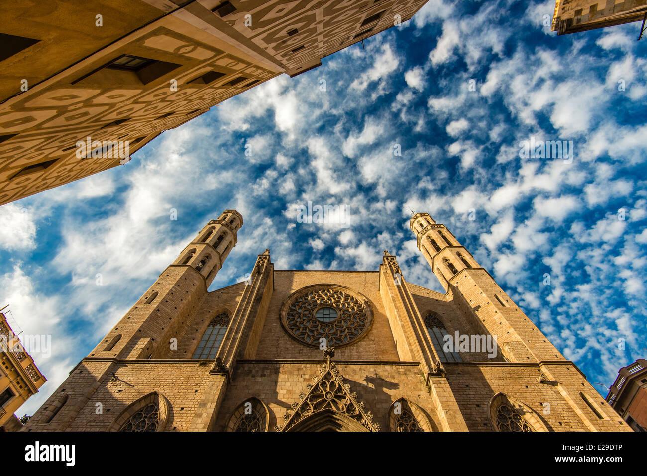 Facade of Santa Maria del Mar church, Born district, Barcelona, Catalonia, Spain - Stock Image