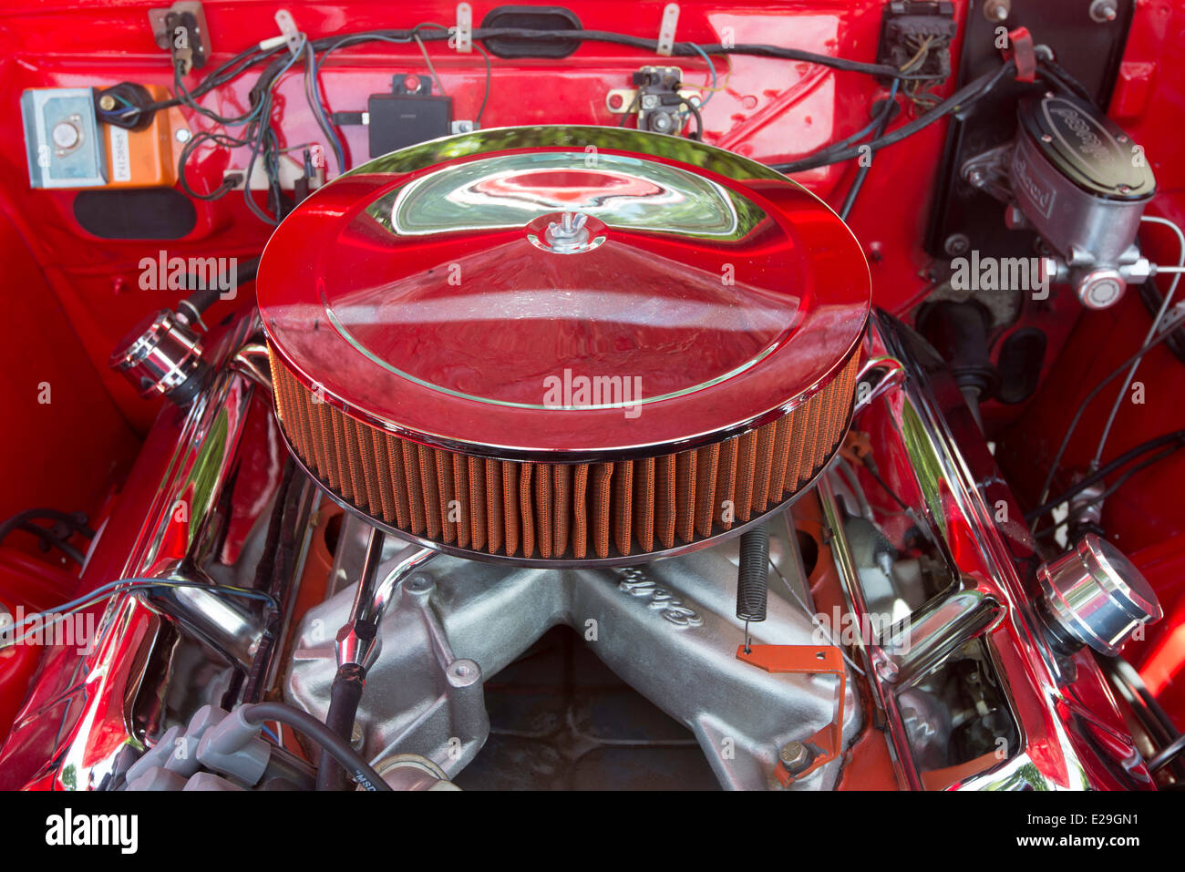 Red  engine compartment and air filters - Stock Image
