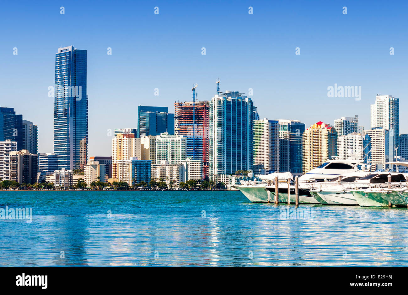 Miami south beach, view from port entry channel, Floride, USA. - Stock Image