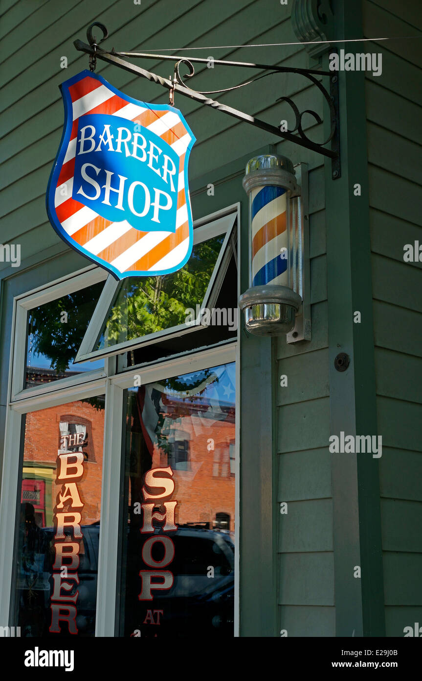Barber shop in the historical Fairhaven district of Bellingham, Washington state, USA - Stock Image