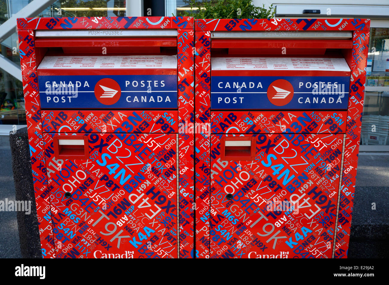 Canada Post mailboxes decorated with Canadian postal codes, Kerrisdale, Vancouver, BC, Canada - Stock Image