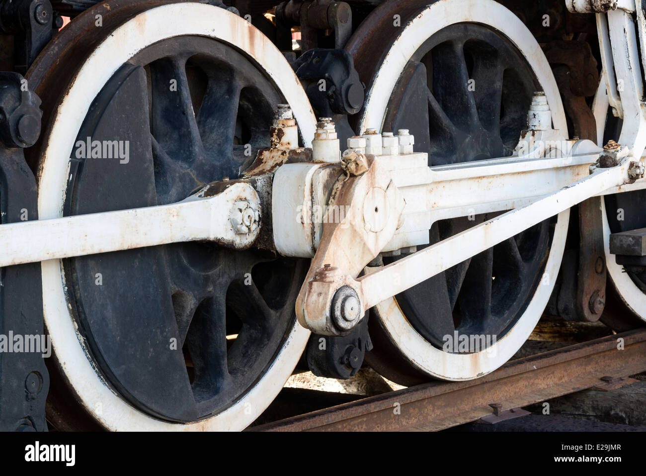 Drive train of a restored steam locomotive engine, Sumpter Valley Railroad, Eastern Oregon. - Stock Image