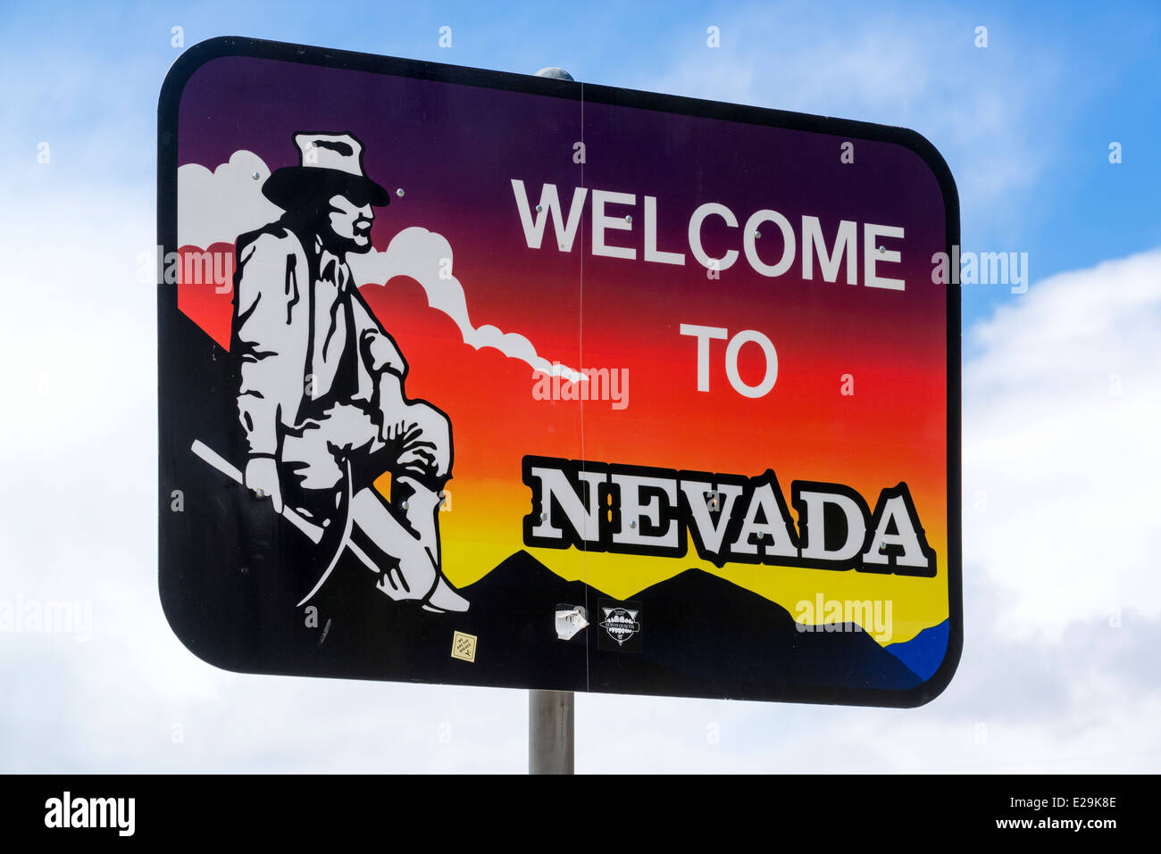 Welcome to Nevada sign in Denio, Nevada. - Stock Image