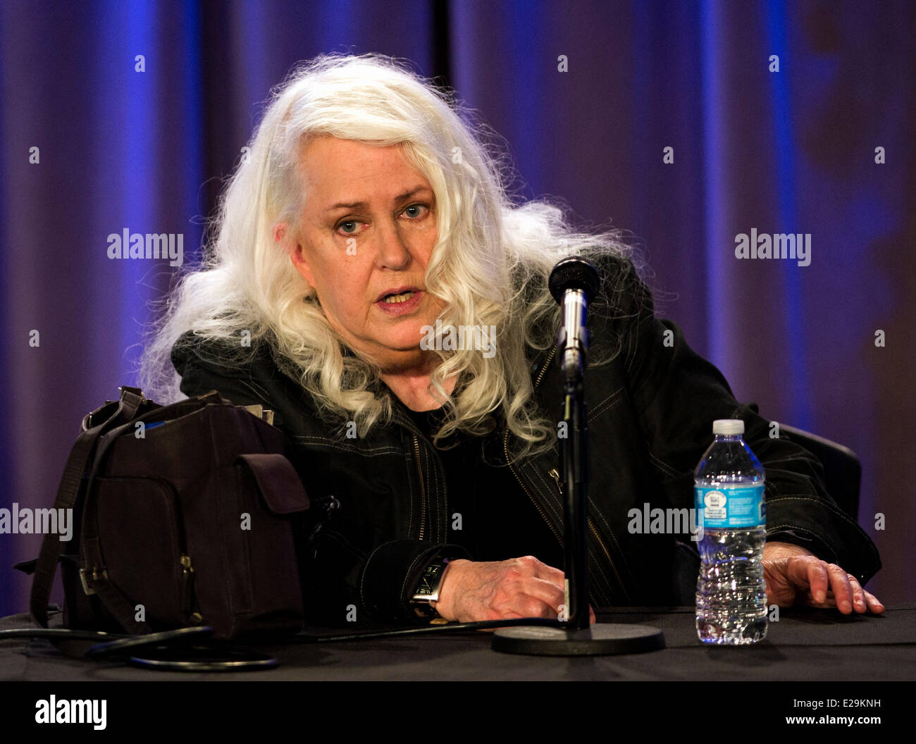 Los Angeles, California, USA. 17th June, 2014. Jefferson Airplane singer GRACE SLICK discusses her career in music Stock Photo