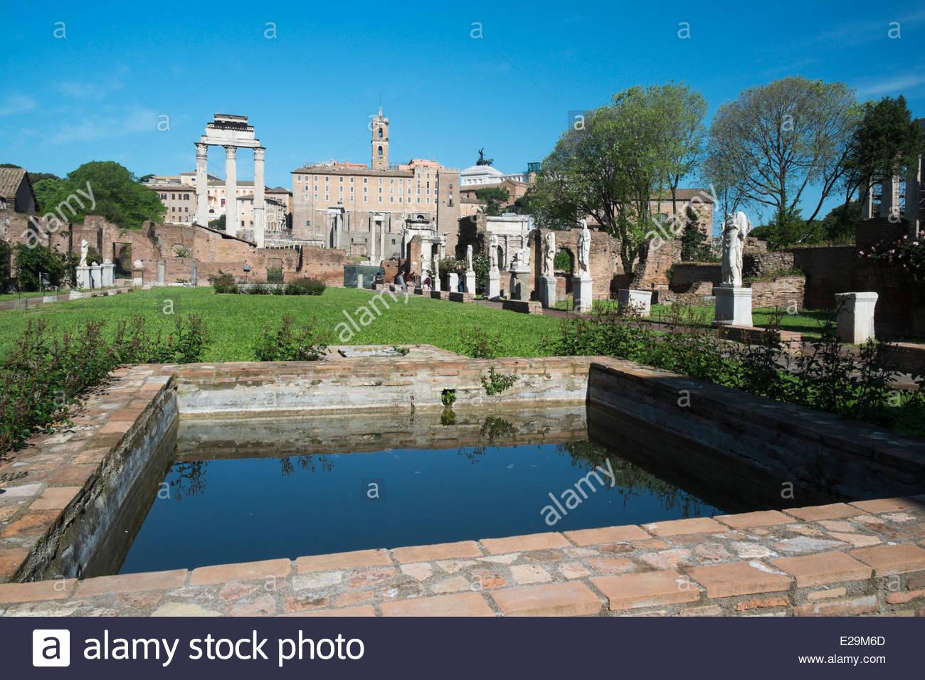 Pool of Water at Foro Romano, Roma, Italy - Stock Image
