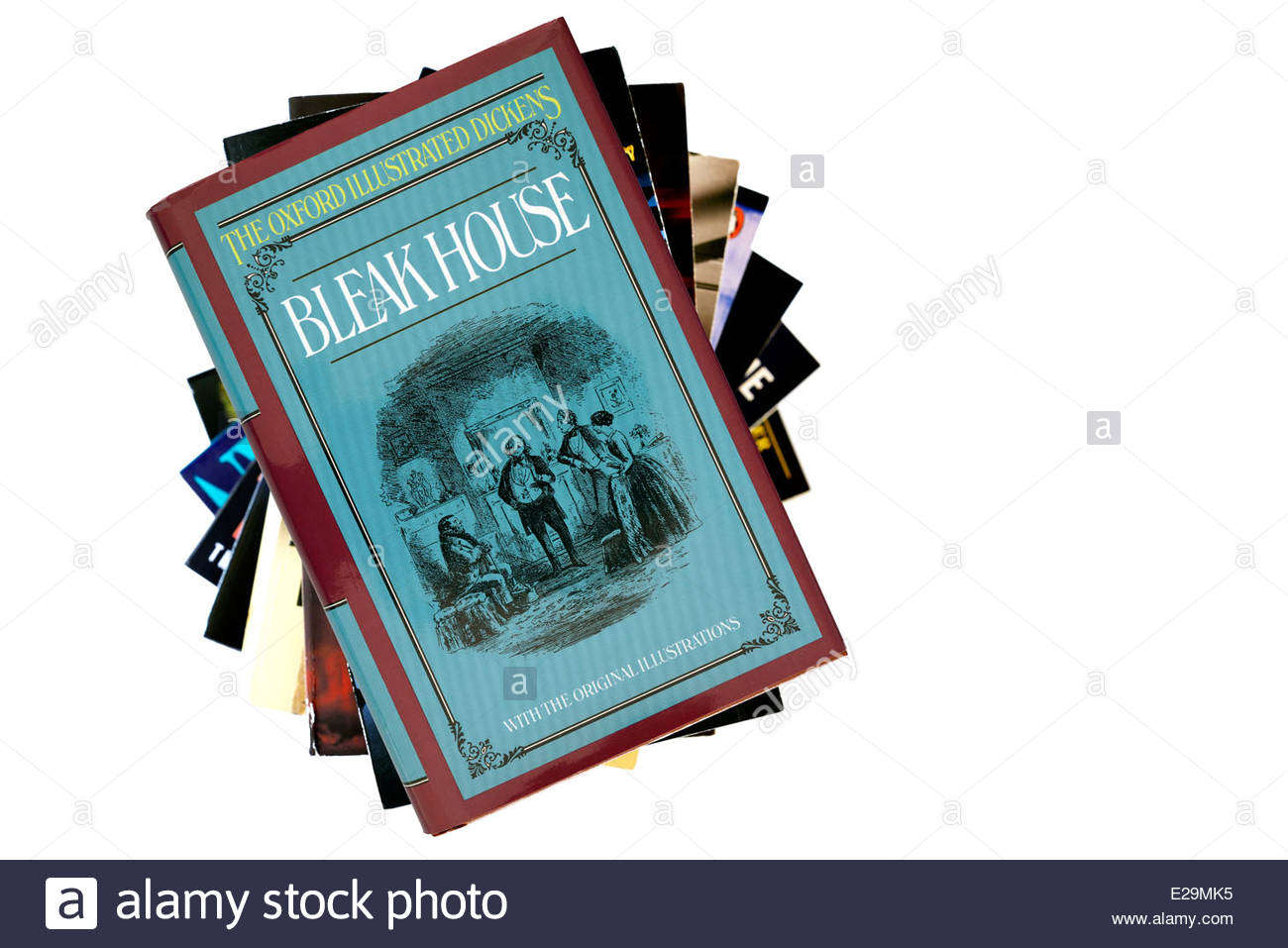 Charles Dickens novel, Bleak House, paperback title stacked used books, England - Stock Image
