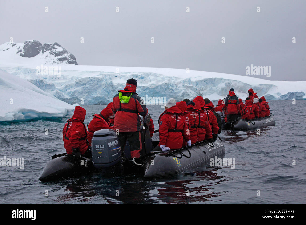 Antarctica, cruise on Boreal ship, Cuverville Island, in Errera Channel between Arctowski Peninsula and the northern Stock Photo