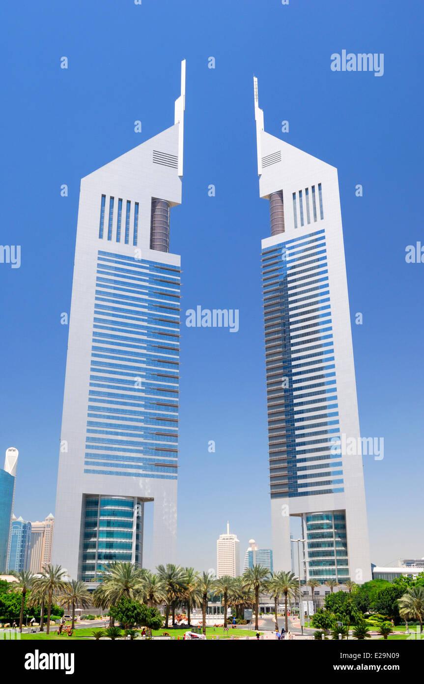 United Arab Emirates, Dubai emirate, Dubai's World Trade Center business district, Emirates Towers skyscrapers - Stock Image