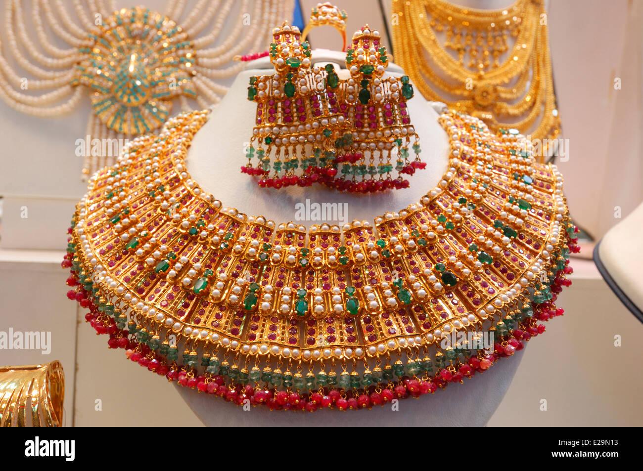 United Arab Emirates, Dubai emirate, Dubai, Deira, Gold Souk, Indian gold necklaces in a jewelry showcase in the - Stock Image