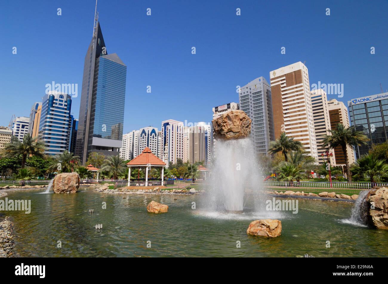 United Arab Emirates, Abu Dhabi emirate, Abu Dhabi city, fountains in the Capital Garden Park Stock Photo
