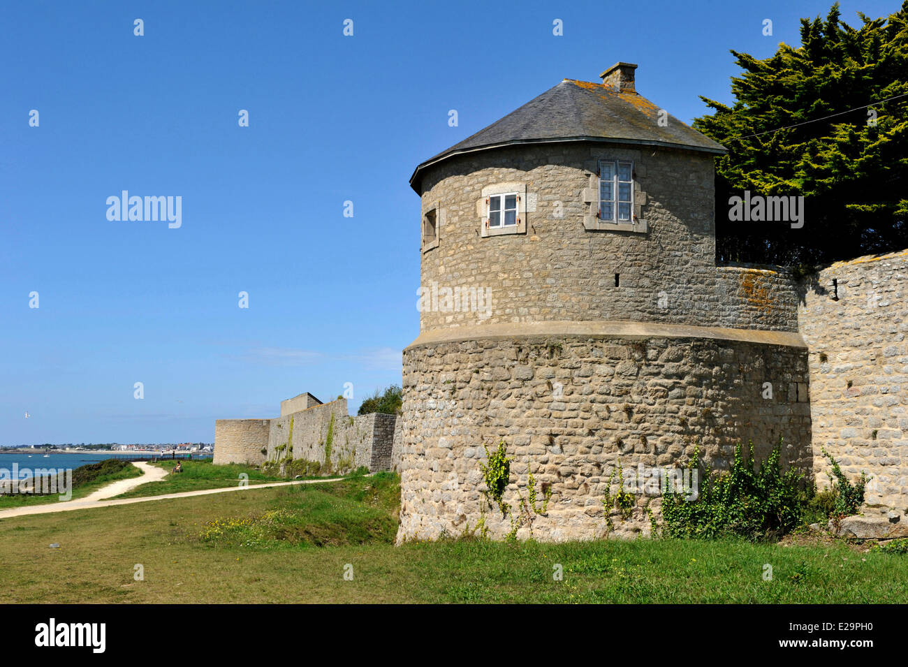 France, Morbihan, Port Louis Citadel modified by Vauban, at Lorient harbour entrance Stock Photo