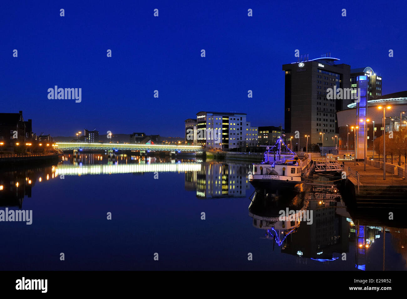 United Kingdom, Northern Ireland, Belfast, the waterfront on the Lagan riverside - Stock Image