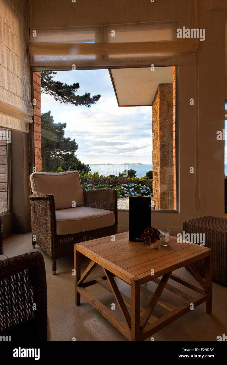 France, Cotes d'Armor, Perros Guirec, the hotel les Costans, lounge Stock Photo