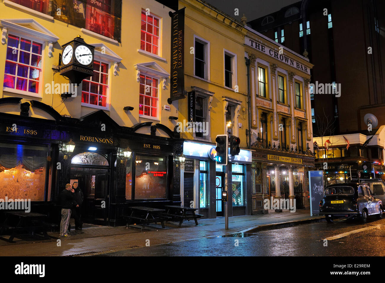 United Kingdom, Northern Ireland, Belfast, The Crown Liquor Saloon was founded in 1826 and is the unique pub to - Stock Image