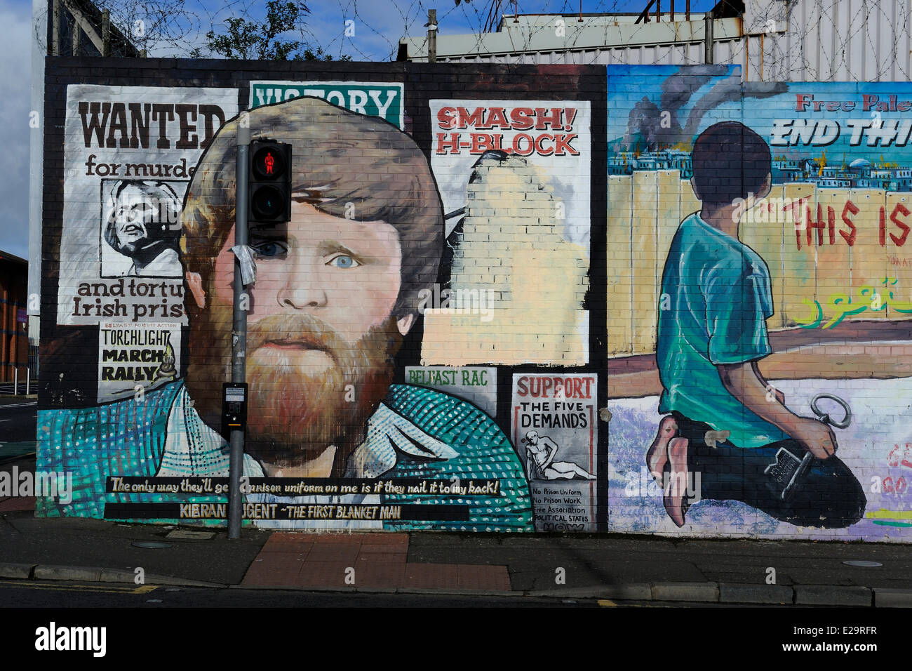 United Kingdom, Northern Ireland, West Belfast, Catholic Falls area, International or Solidarity Wall, murals on - Stock Image