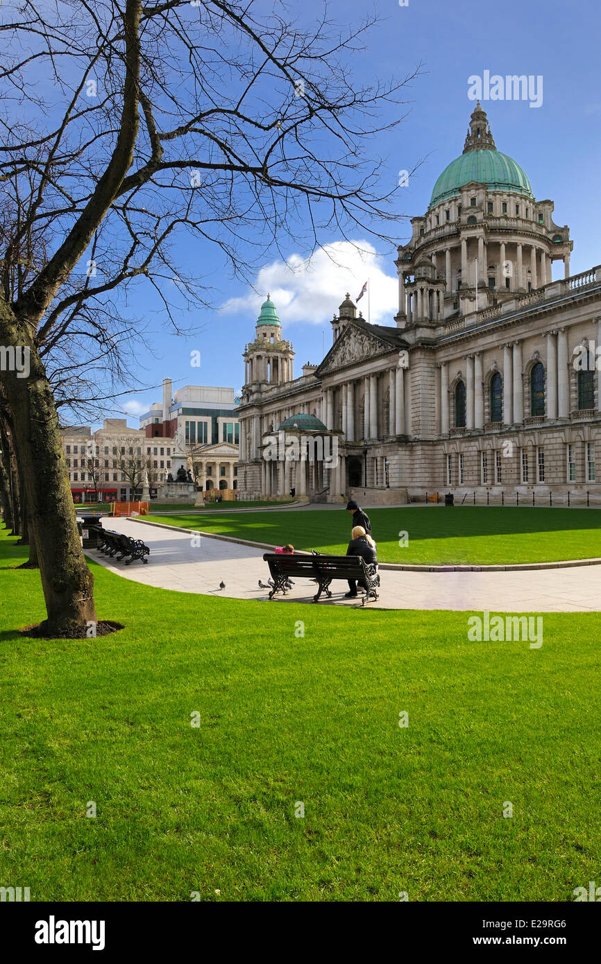 United Kingdom, Northern Ireland, Belfast, the City Hall on Donegall square - Stock Image