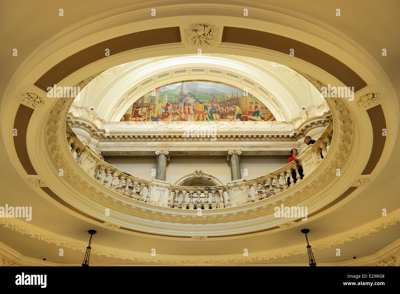 United Kingdom, Northern Ireland, Belfast, the City Hall, the main hall and mural symbolizing the history of the Stock Photo