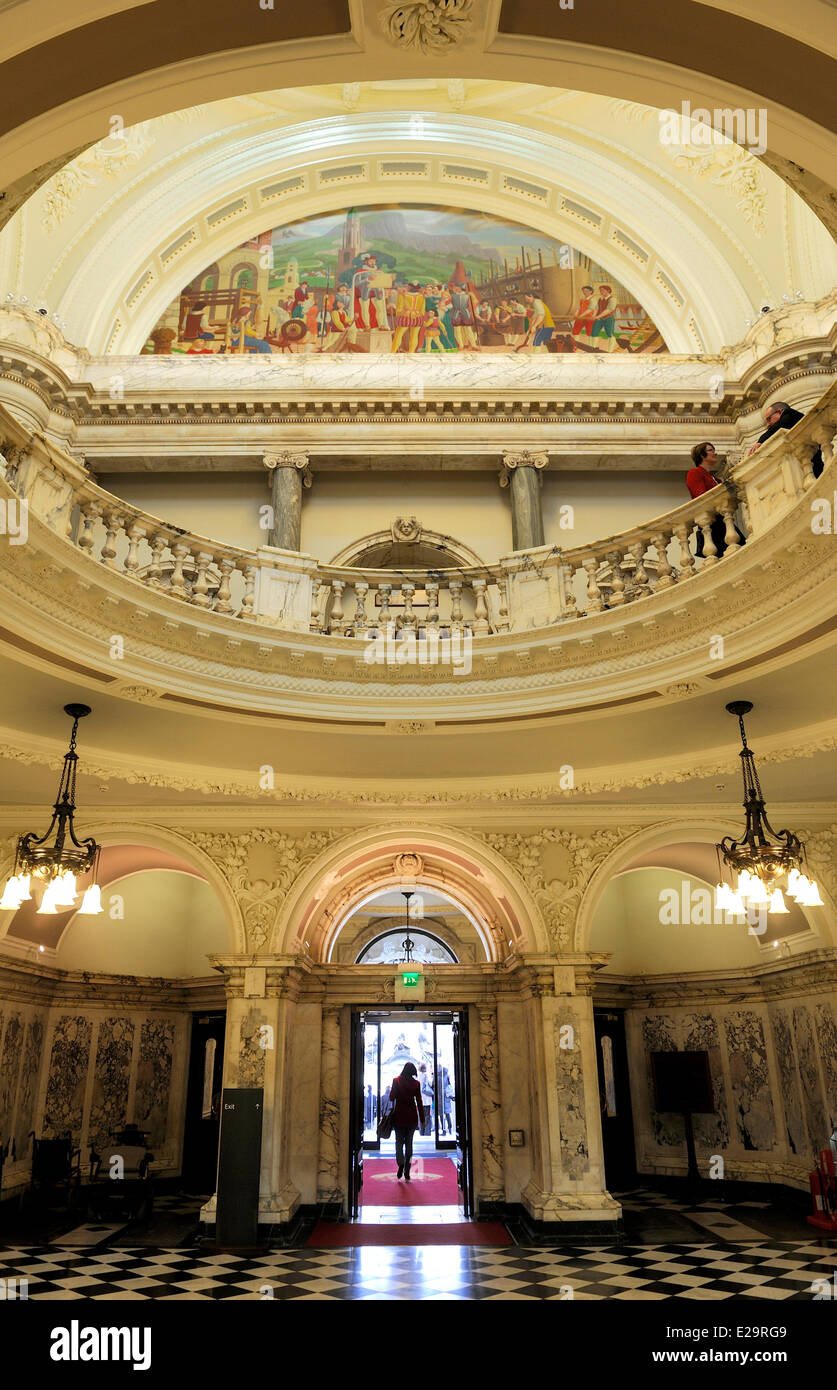 United Kingdom, Northern Ireland, Belfast, the City Hall, the main hall and mural symbolizing the history of the - Stock Image