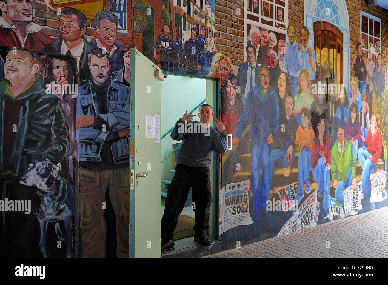 United Kingdom, Northern Ireland, Belfast, Cathedral Quarter, the Personalities mural between Commercial Court and - Stock Image