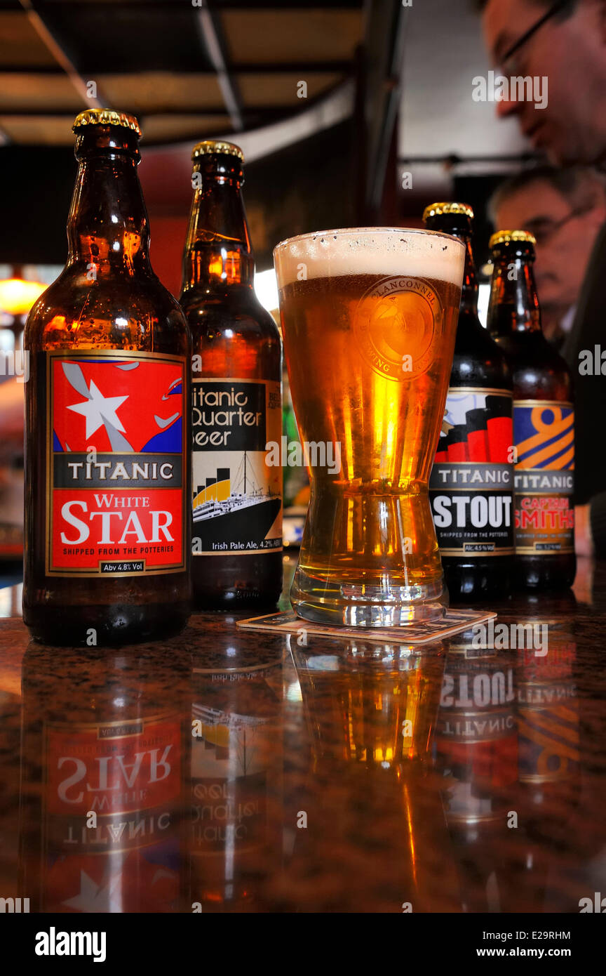 United Kingdom, Northern Ireland, Belfast, Cathedral Quarter, The John Hewitt pub, micro-brewery beers created in - Stock Image