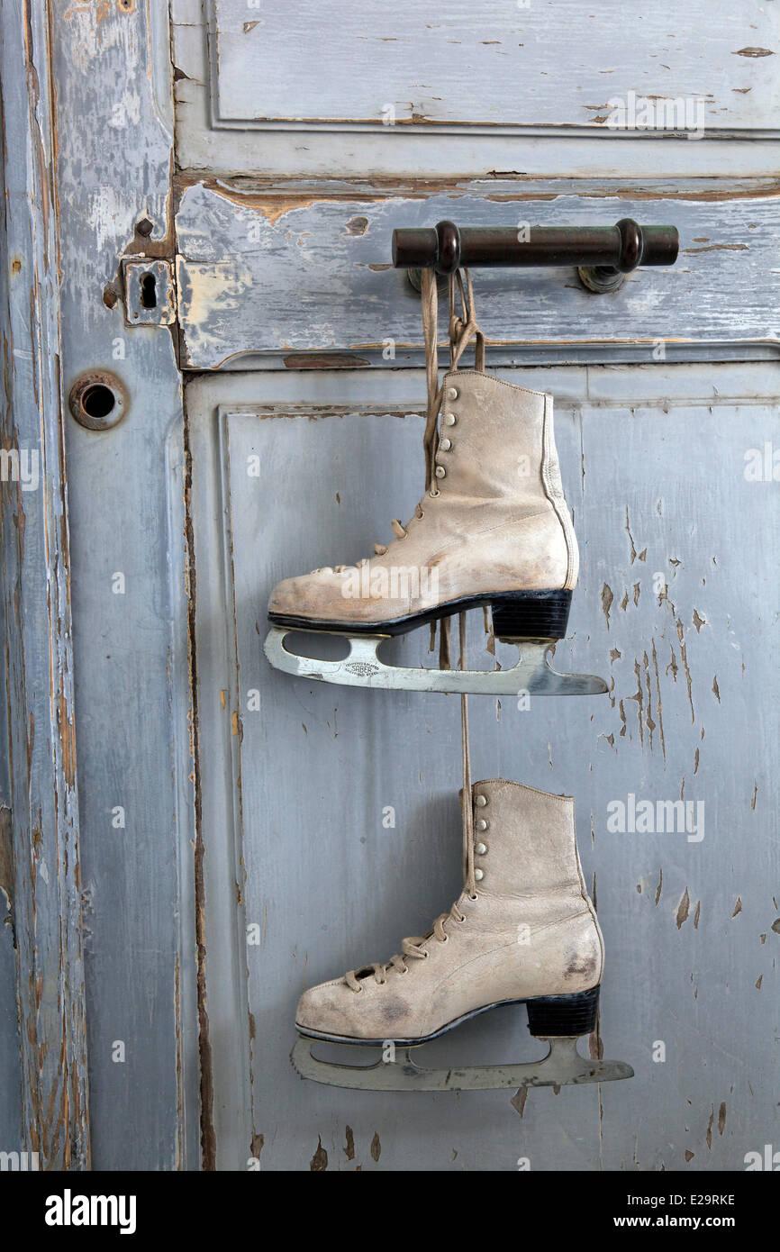 France, Morbihan, Carentoir, guest house Le Marchand de Sable, decoration details, Ice skate - Stock Image