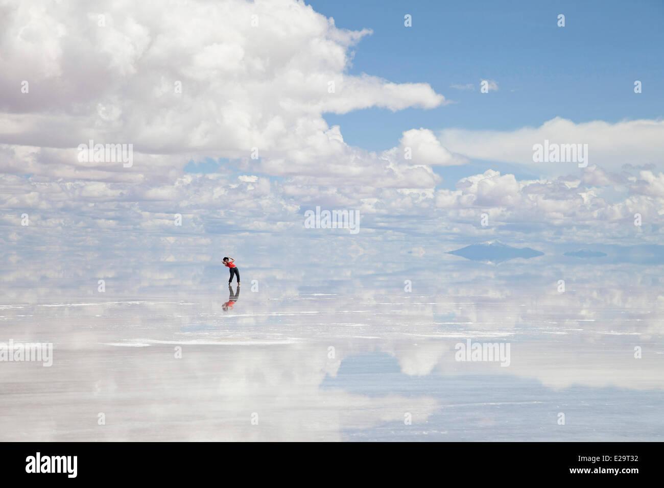 Bolivia, Potosi department, Salar de Uyuni the world's largest salt flat - Stock Image