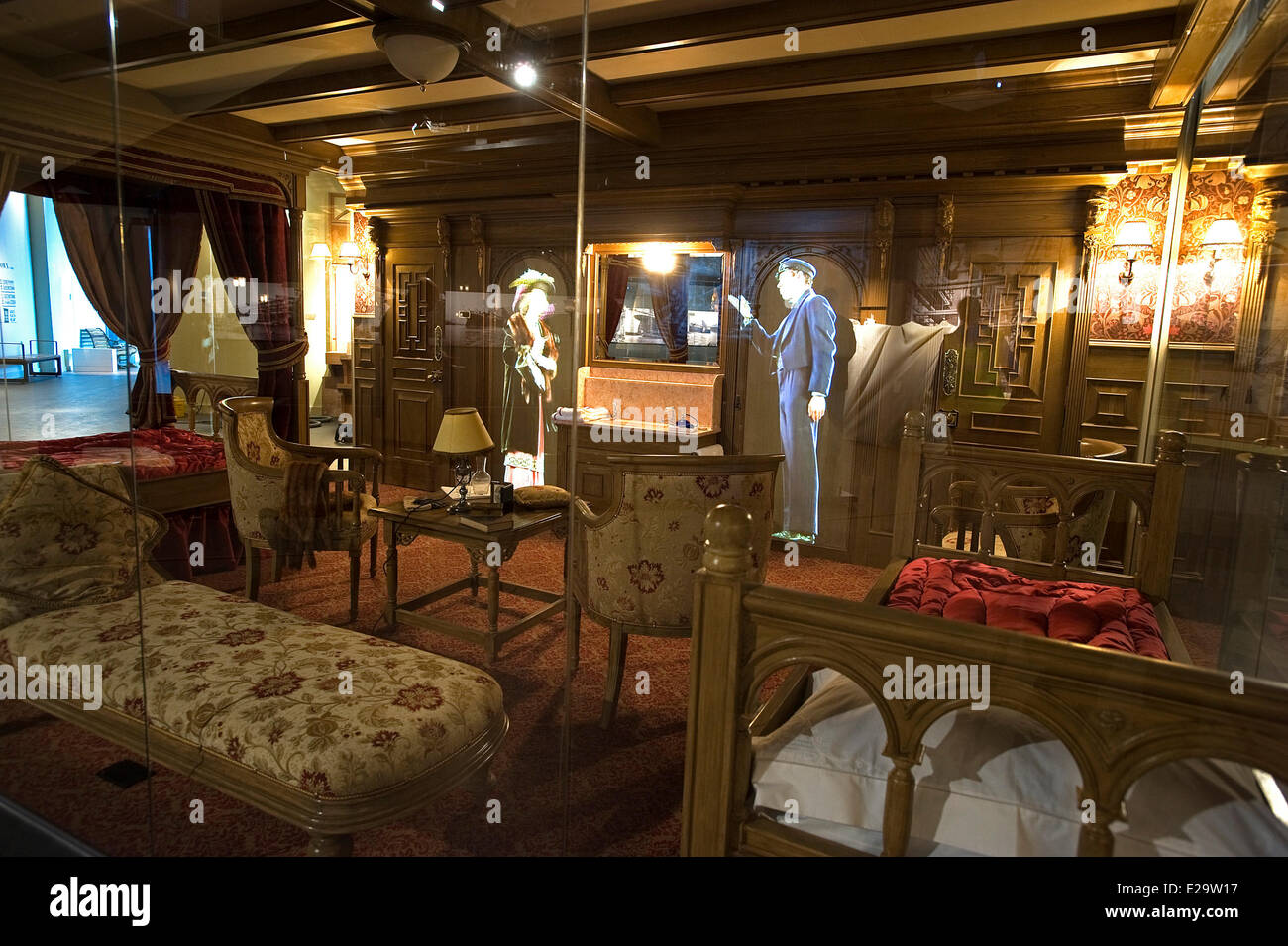 United Kingdom, Northern Ireland, Belfast, the Titanic Belfast museum, 1st class cabin with audio visual representations - Stock Image