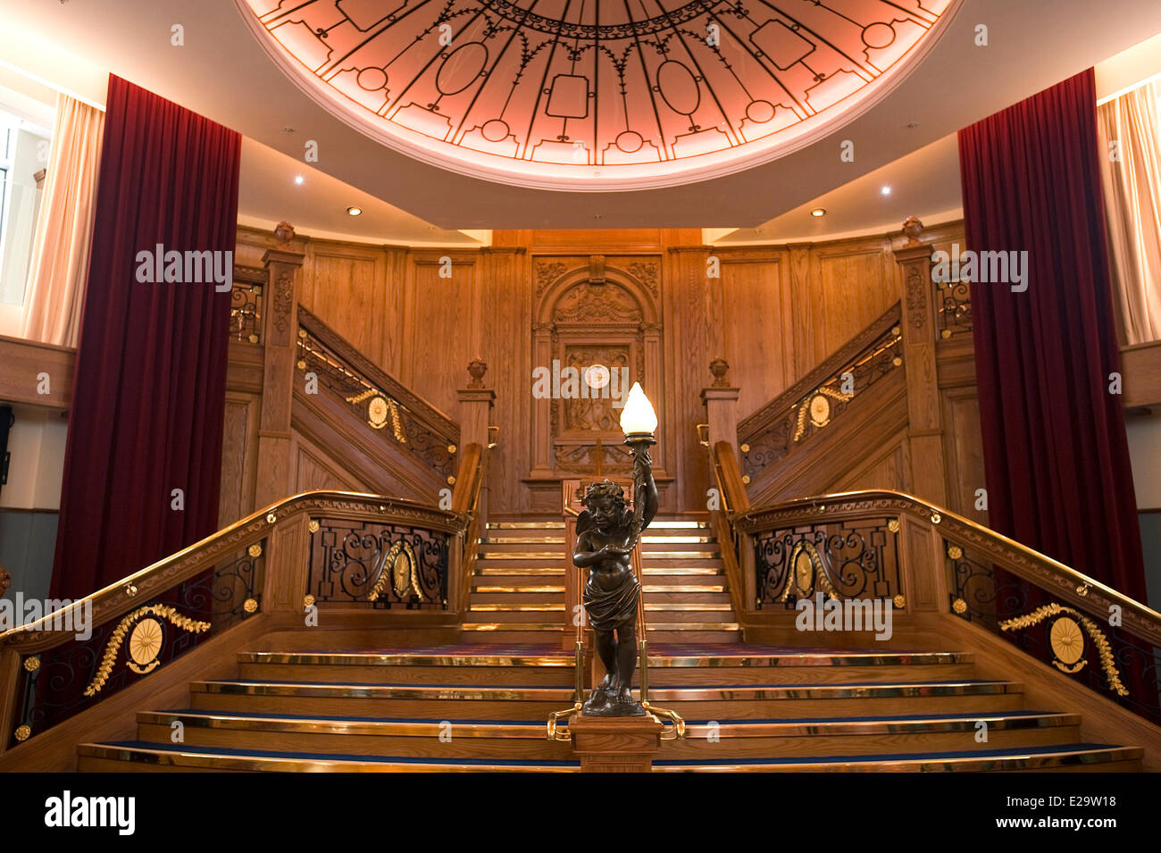 United Kingdom, Northern Ireland, Belfast, the Titanic Belfast museum, the famous staircase - Stock Image