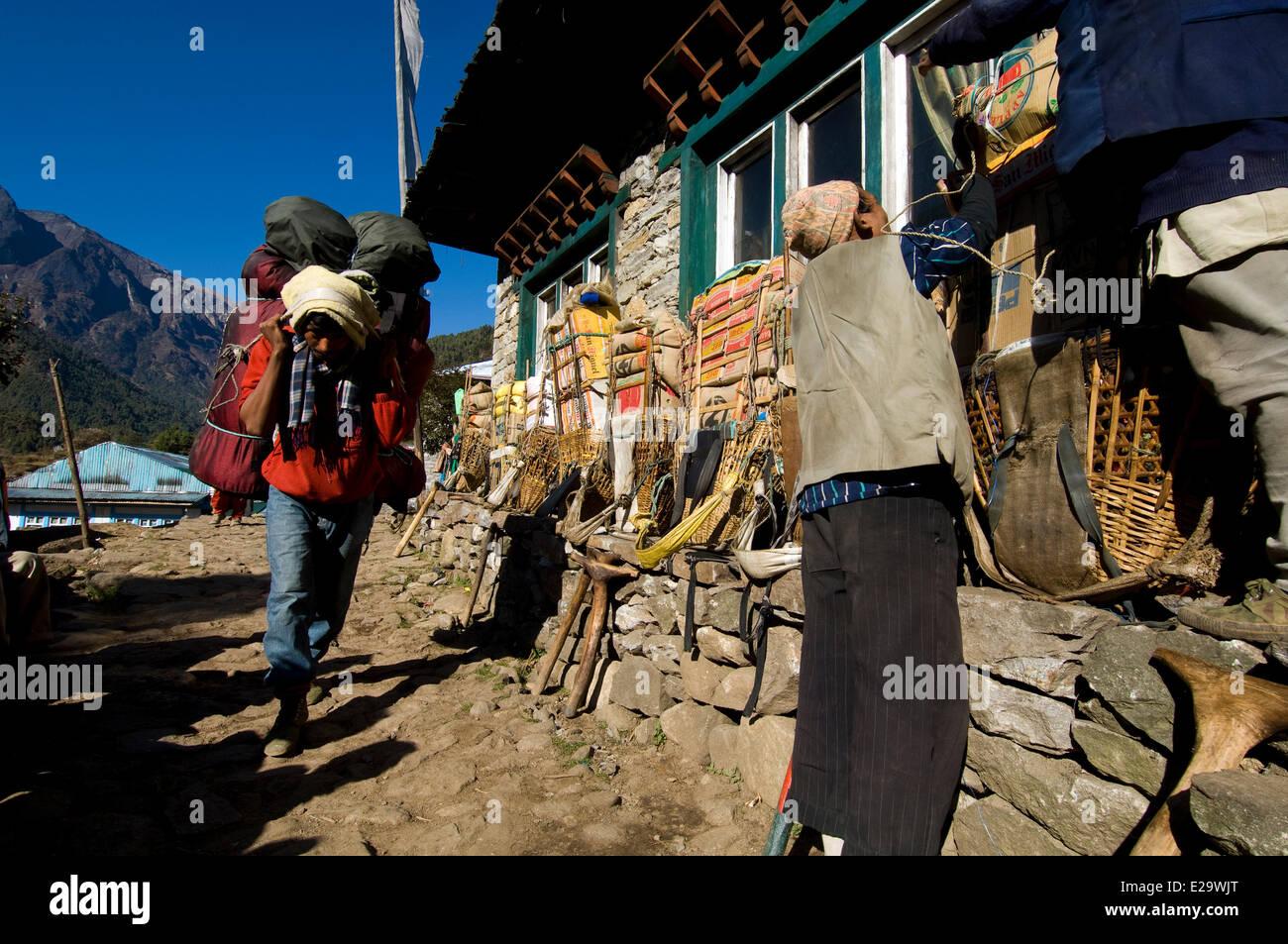 Nepal, Sagarmatha Zone, Khumbu Region, trek of the Everest Base Camp, arrival at the lodge of Phakding - Stock Image
