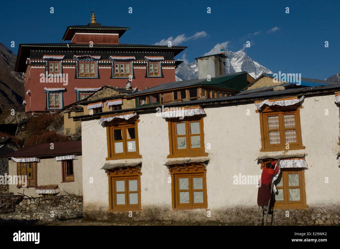 Nepal, Sagarmatha Zone, Khumbu Region, trek of the Everest Base Camp, Tengboche monastery - Stock Image