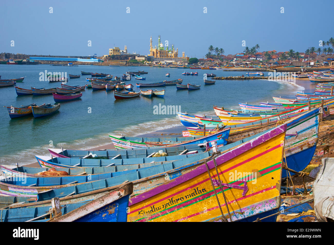 India, Kerala state, Vizhinjam, fishing harbour near Kovalam - Stock Image