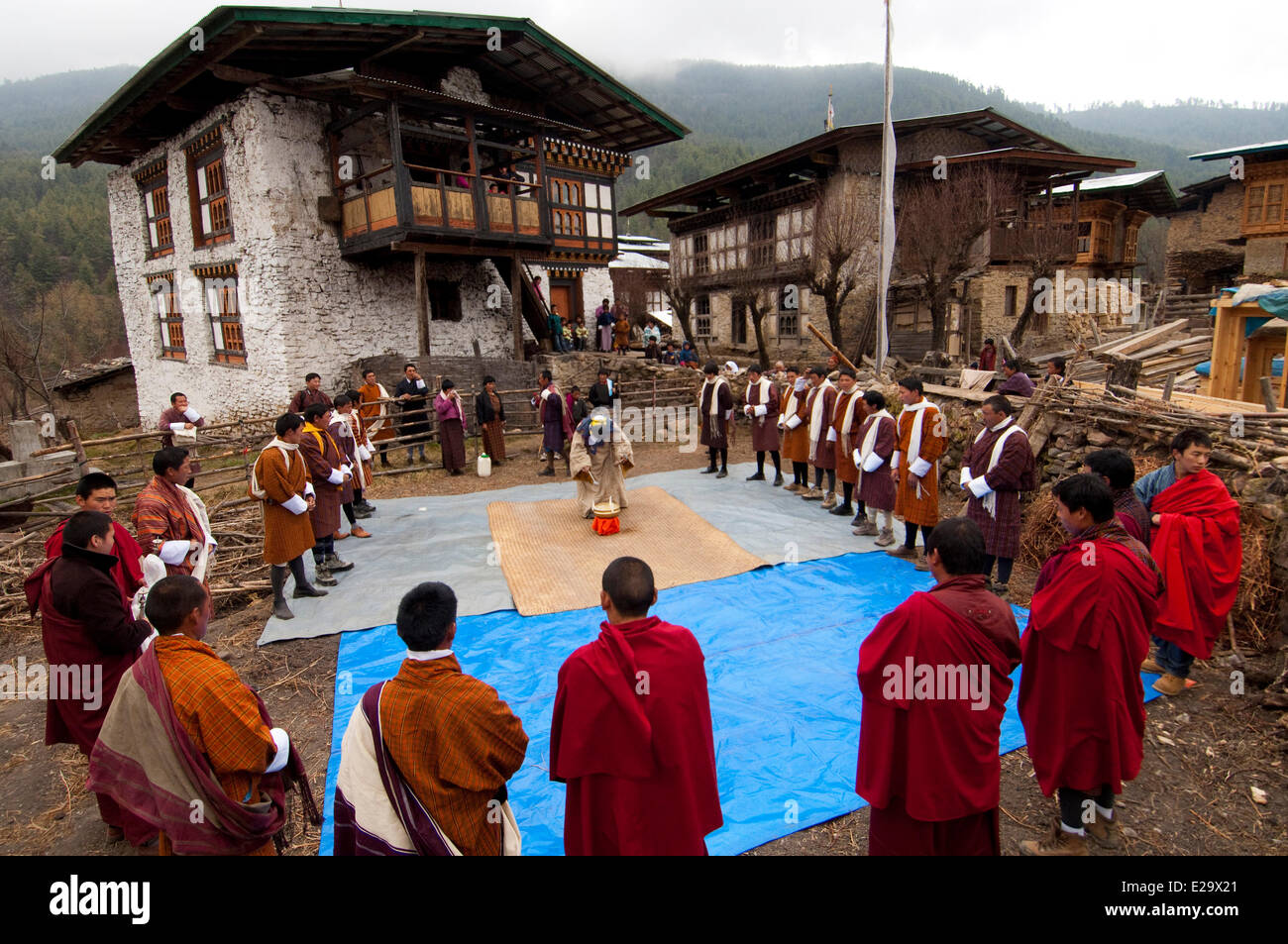 Bhutan, Bumthang valley, nyingmapa ritual during the Tangsibi festival - Stock Image