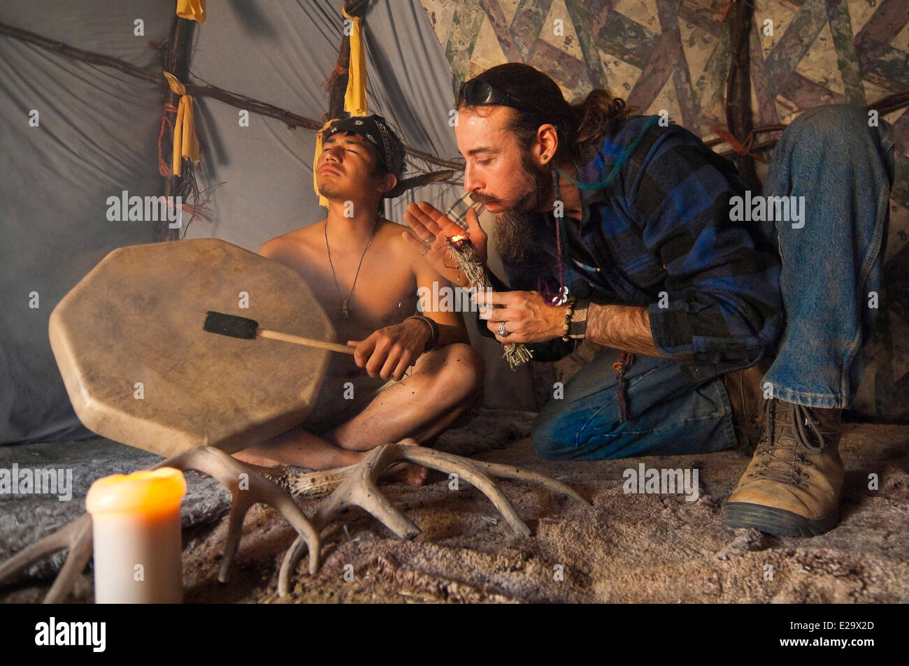 United States, Utah, Wind Walker ranch, purification in a sweat lodge, according to the lakota rite, by the neo - Stock Image