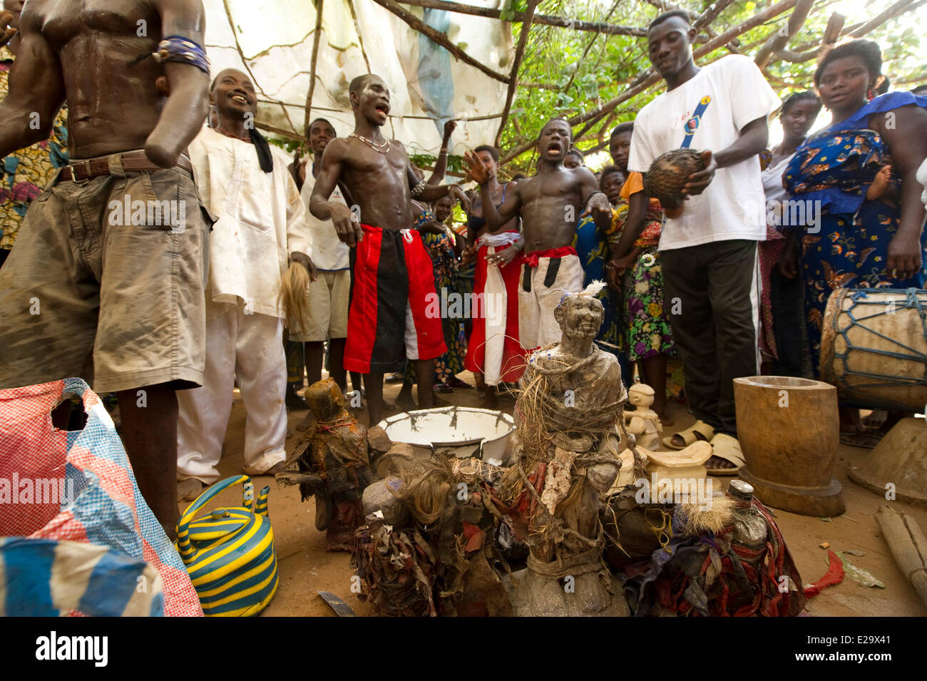 Togo, Kpetsou Wathtchidome, ceremony of Kokoussi vodoo, or vodoo of the knives - Stock Image