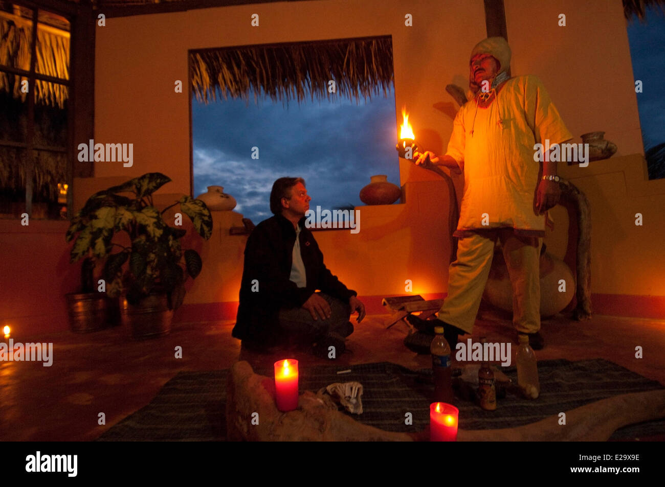 Peru, San Martin province, Lamas, capital of the indigenous people quechua lamistaAyawaska ceremony, a plant with Stock Photo