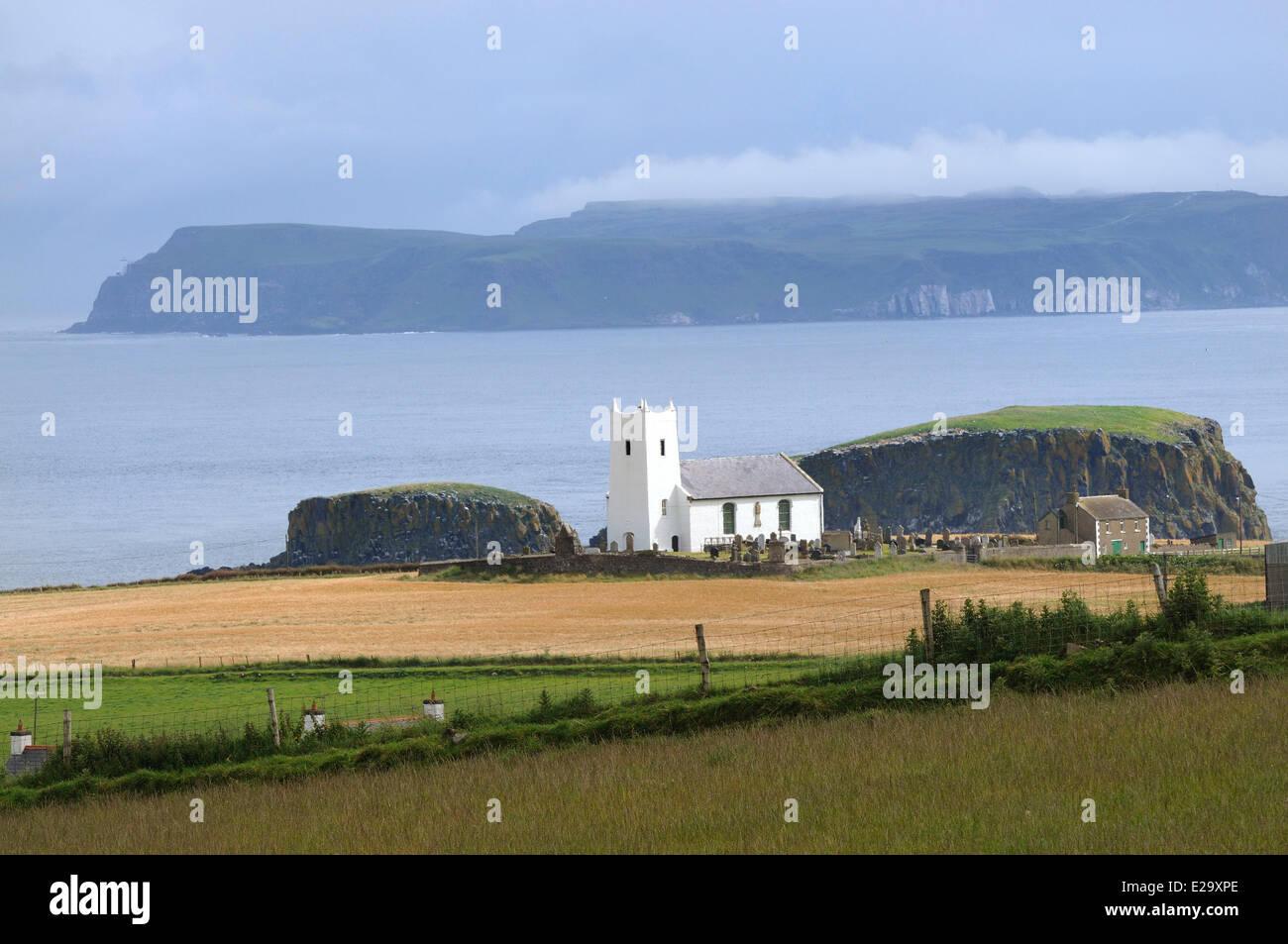 United Kingdom, Northern Ireland, County Antrim, Antrim coast, Ballintoy, The church - Stock Image
