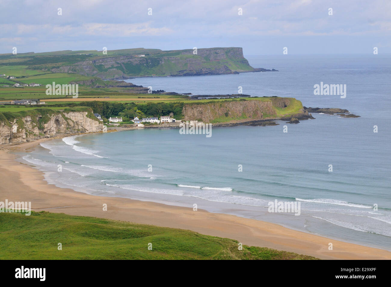United Kingdom, Northern Ireland, County Antrim, Antrim coast, White park bay and Portbradden harbour - Stock Image