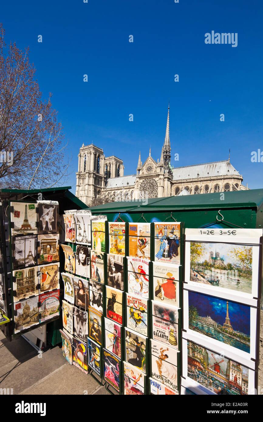France, Paris, Quai de Montebello, bookseller stall in front of Notre Dame de Paris cathedral - Stock Image