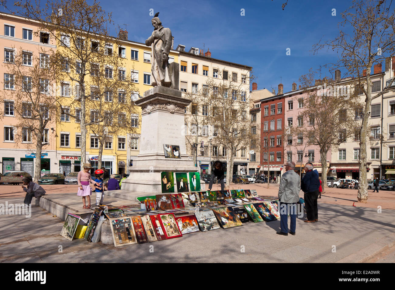 France, Rhone, Lyon, historical site listed as World Heritage by UNESCO, La Croix Rousse District, Place de la Croix - Stock Image