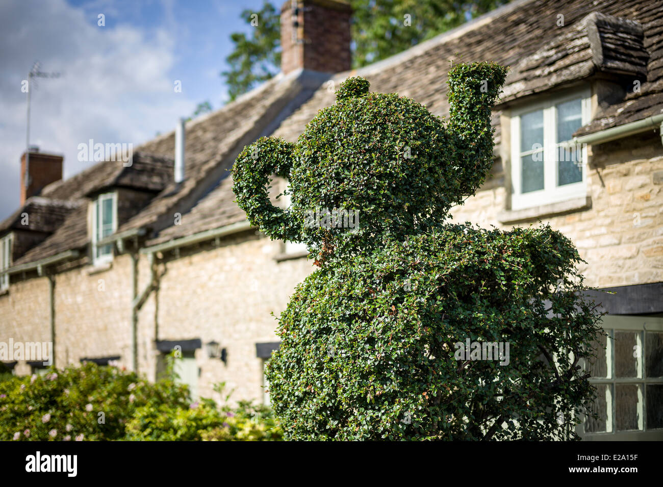 Topiary teapot in a Cotswold village UK - Stock Image