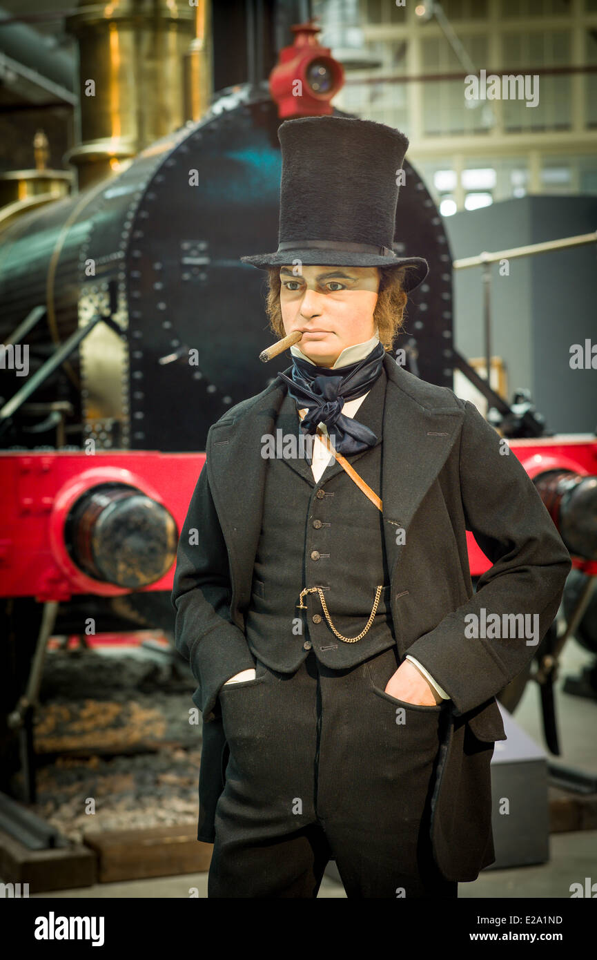 Isambard Kingdom Brunel in the STEAM museum of the Great Western Railway which he founded - Stock Image