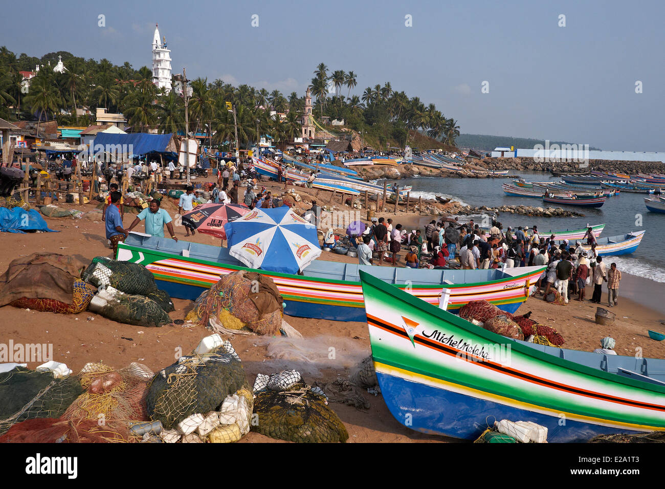 India, Kerala state, Vizhinjam, the fishing port - Stock Image