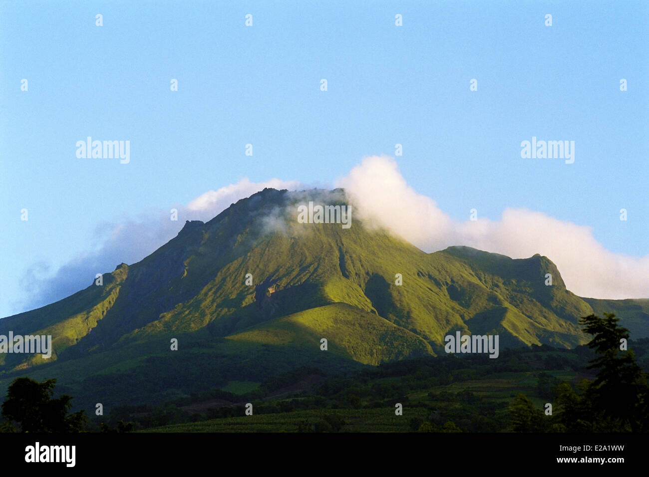 France, Martinique (French West Indies), Morne Rouge, The volcano of Mount Pelee the highest point of Martinique - Stock Image