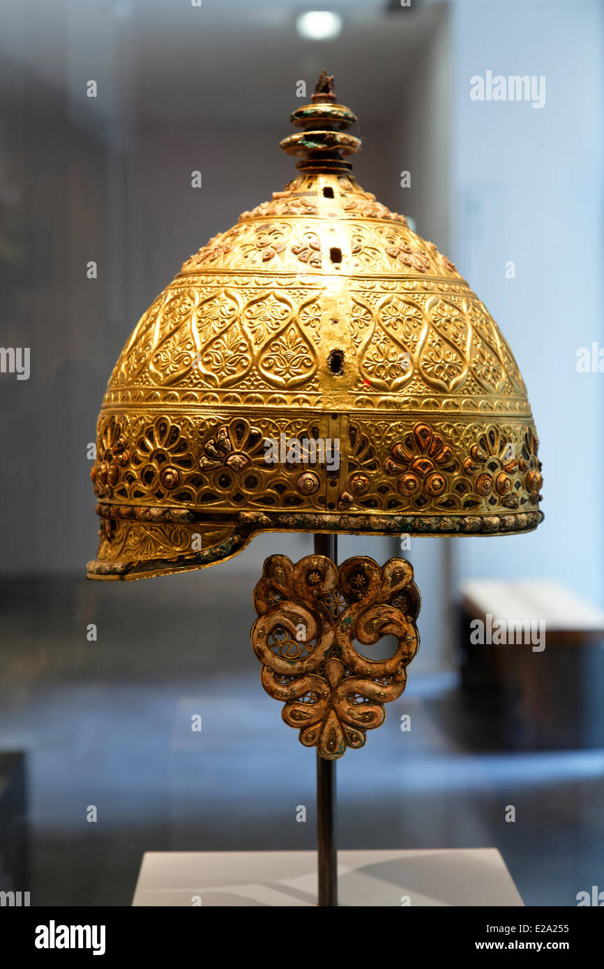 France, Charente, Angouleme, museum, Agris helmet, head of? Practice of the goldsmith Celtic 4th century BC. AD - Stock Image