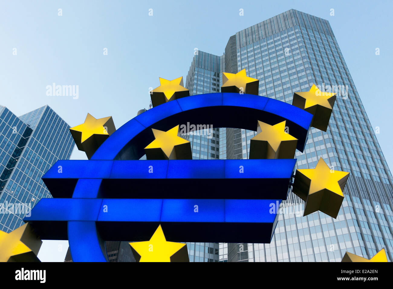 Euro-Sculpture in front of ECB in Frankfurt am Main, Hesse, Germany Stock Photo