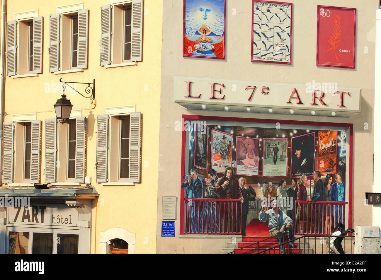 France, Alpes Maritimes, Cannes, Place du 18 juin, mural of the ...